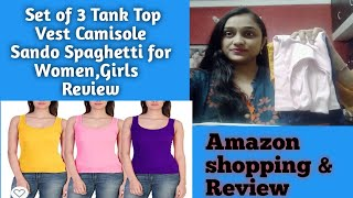 Set of 3 Tank Top Vest Camisole Sando Spaghetti for Women Girls Amazon shopping amp review