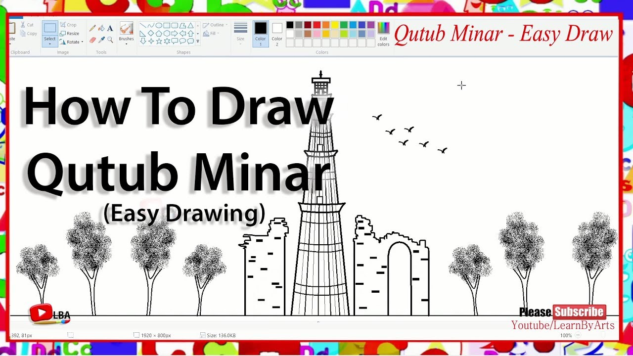 How to draw qutub minareasy drawing l learnbyarts