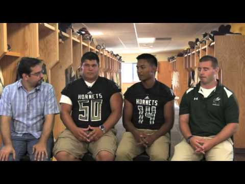 Highland football players Tyler Frederick, Manny Dela Cerna and coach Mike Gibbons talk about the 20