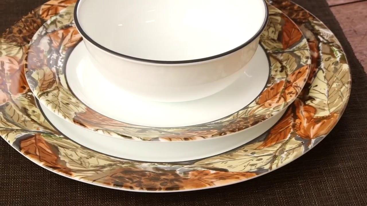 Corelle Woodland Leaves 16 Piece Dinnerware Set - YouTube