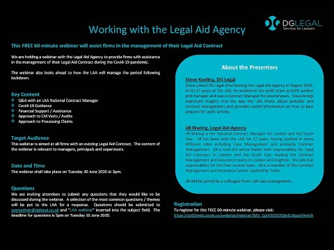 Working with the Legal Aid Agency Webinar