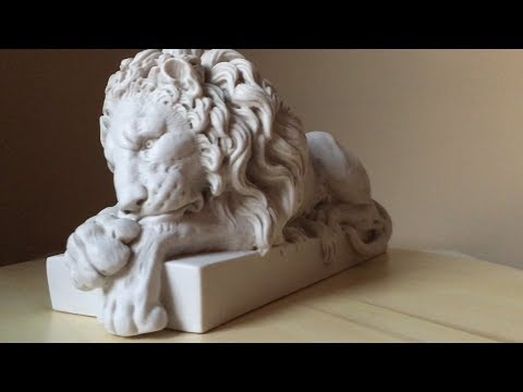 Lion Statues of White Marble