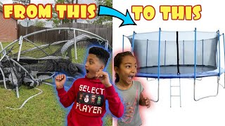 WE GOT A OLD 15 FOOT TRAMPOLINE AND ARE RESTORING IT TO MAKE IT LOOK NEW!