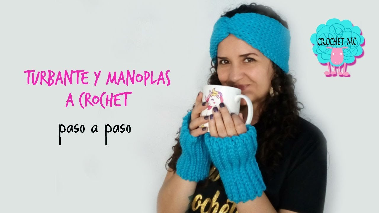 Tutorial turbante y manoplas a crochet - imitación dos agujas - YouTube