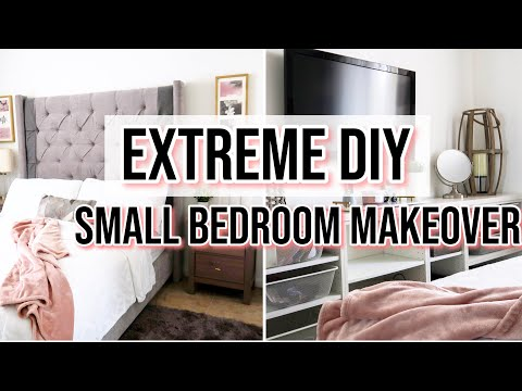 Extreme Small Rental Bedroom Makeover + DIY Queen Bed – Pt 1