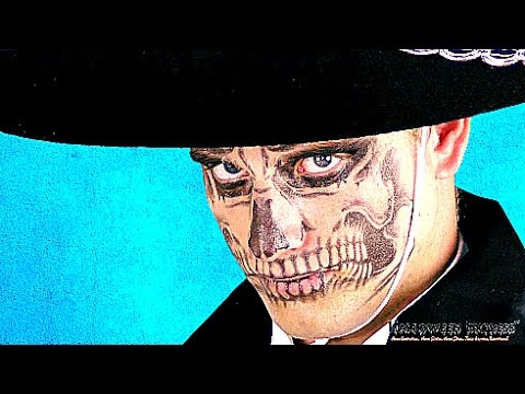 Creating a Day of the Dead Skull Face Using Temporary Tattoos - YouTube
