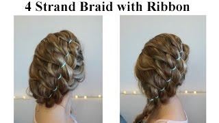Коса с лентой на вьющихся волосах ♥ 4 Strand Braid with Ribbon