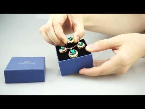 Набор Хюррем Изумруд Кулон, серьги, кольцо и фирменная подарочная коробочка