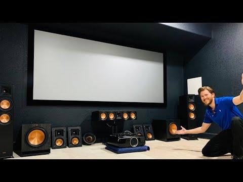 "Full 4K Home Theater Install Epson 6050ub 120"" Screen Innovations 2.35 Cinescope 1.2 Slate Screen"