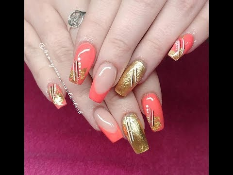 Acrylic Nails/Gold Leaf/CJP Smashed Peach