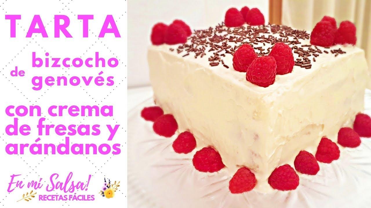 Tarta de Bizcocho Genovés con Crema de Fresas y Arándanos - YouTube bffe57f47b3