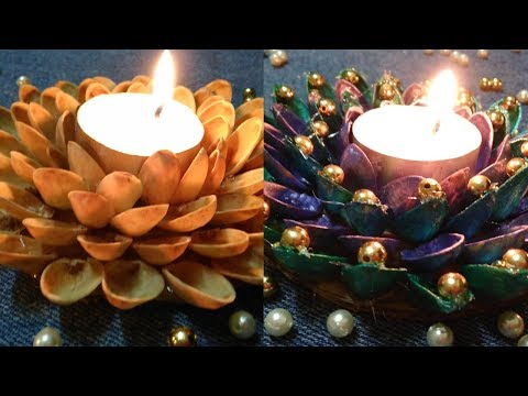 DIY Pista Shell Candle Holder|Best out of waste|Diwali Craft|Useful Creations