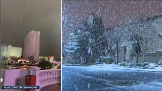 Las Vegas snow: Up to 2 inches of snow falls on strip for 1st time in decade | ABC7