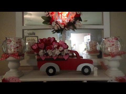 DOLLAR TREE VALENTINE'S DAY DIY GARLAND WREATH RED TRUCK CANDLES DECOR