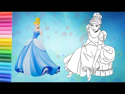 CINDERELLA Coloring Page With STICKERS Story Disney Princess Glitter Coloring FunTime
