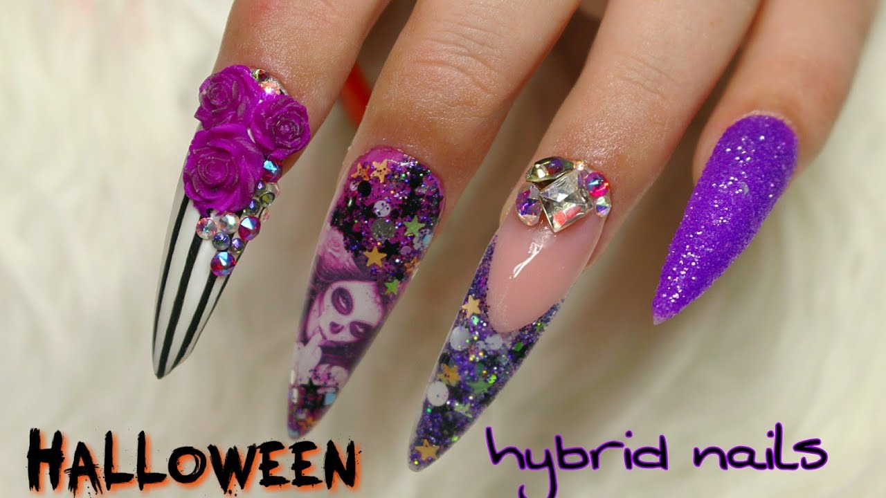 Glam Halloween Extra Long Stiletto Nails: Acrylic ...