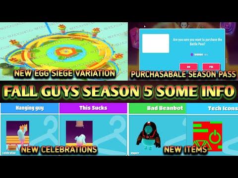 Fall Guys Season 5 Egg Siege Variation Leaked | Purchasable Season Pass | New Celebration | New Item