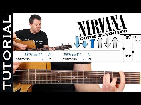 Como tocar COME AS YOU ARE de Nirvana en guitarra acústica COMPLETO