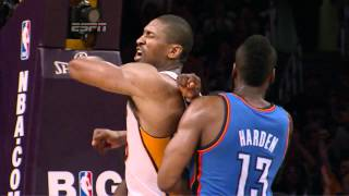 慈善世界和平 肘擊 詹姆斯哈登 Metta World Peace elbow James Harden 720p HD