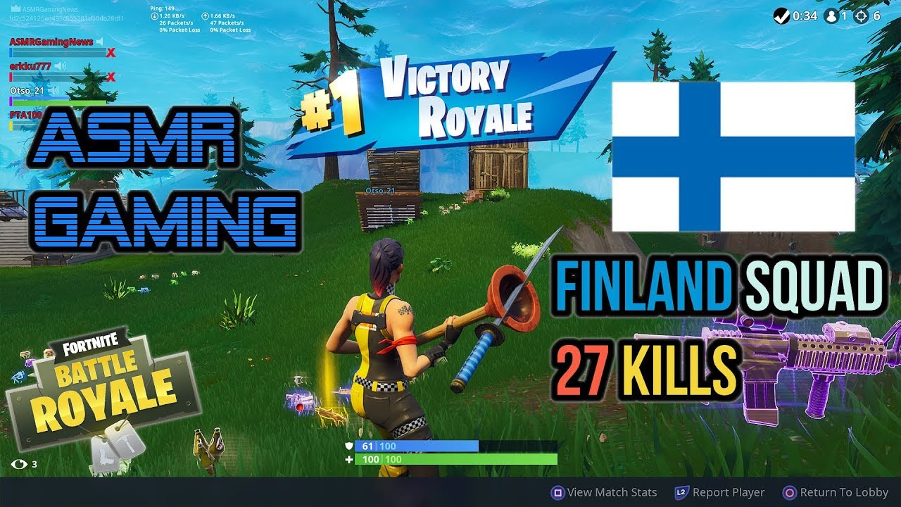ASMR Gaming | Fortnite Finland Subscriber Squad 27 Kill Record ★Controller Sounds + Whispering☆