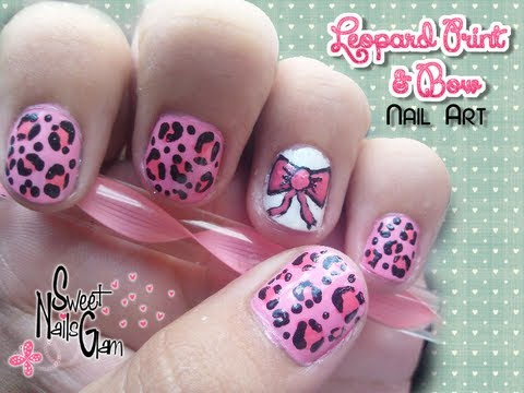 Pinky Leopard Print \u0026 Bow Nail Art ♥\u2022 (For Short Nails/Para uñas cortas)