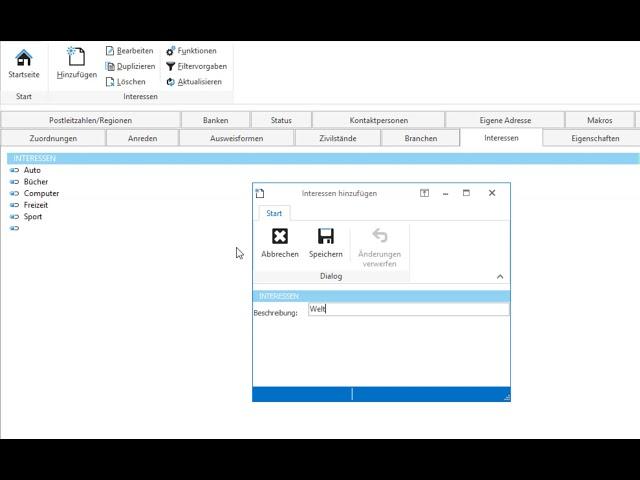 Konfigurieren: Auswahl für Datenbankfelder