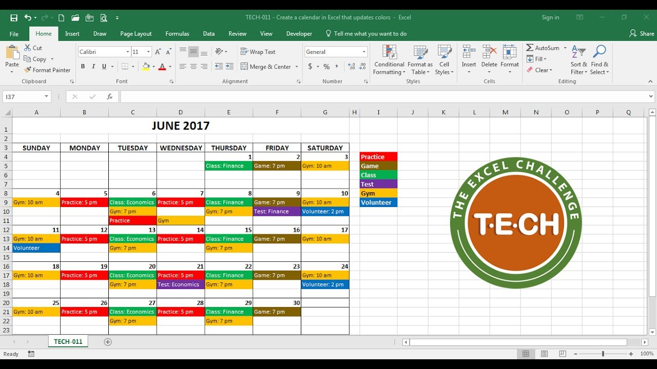 Throw multiple kids participating in multiple activities into the mix, and it becomes even easier to end up at the wrong activity or appointmen. Tech 011 Create A Calendar In Excel That Automatically Updates Colors By Event Category Youtube