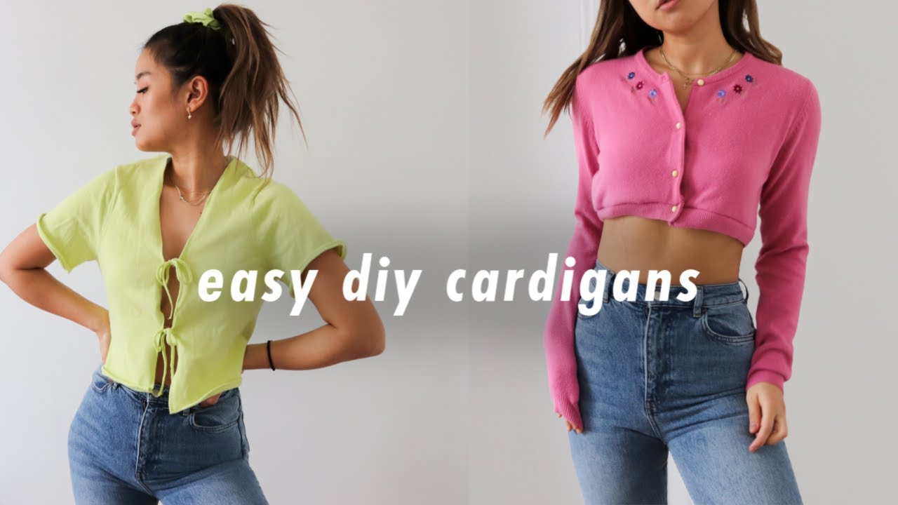 easy diy cardigans!  thrift flip + how to resize sweaters