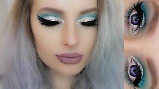 eyeliner podwjna kreska wiosenny makijaż turkusowe cienie i brokat