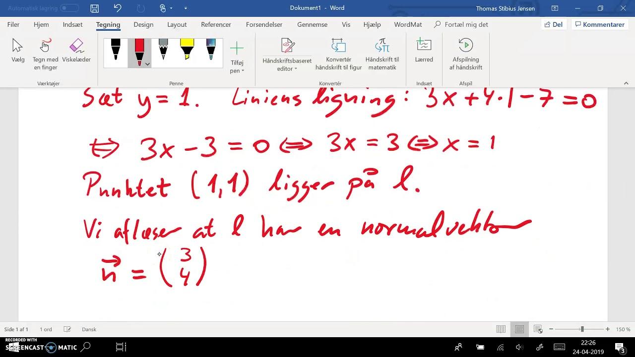Uden hjælpemidler: ret linie - ligning til parameterfremstilling