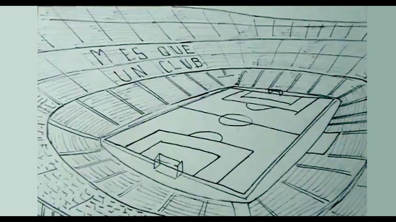 Cómo Dibujar Un Balón De Fútbol Fácil: Cómo Dibujar Fácil El Estadio De Fútbol Camp Nou
