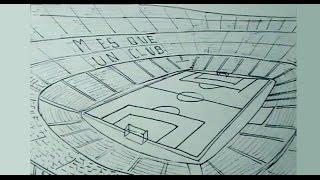 Cómo dibujar fácil el estadio de fútbol Camp Nou Barcelona FC