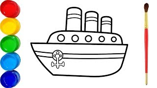 easy drawing coloring ship children draw learn