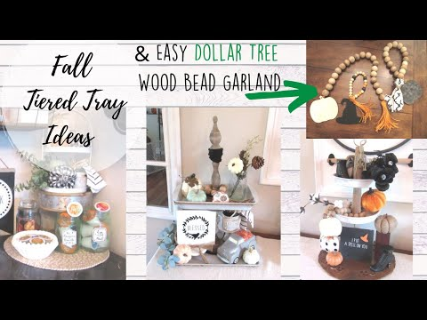 Fall Tiered Tray Ideas + DIY EASY Wood Bead Garlands | Neutral Farmhouse Fall Decor Ideas