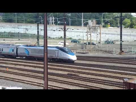 AMTRAK: Acela xpress arriving at 30th st station.