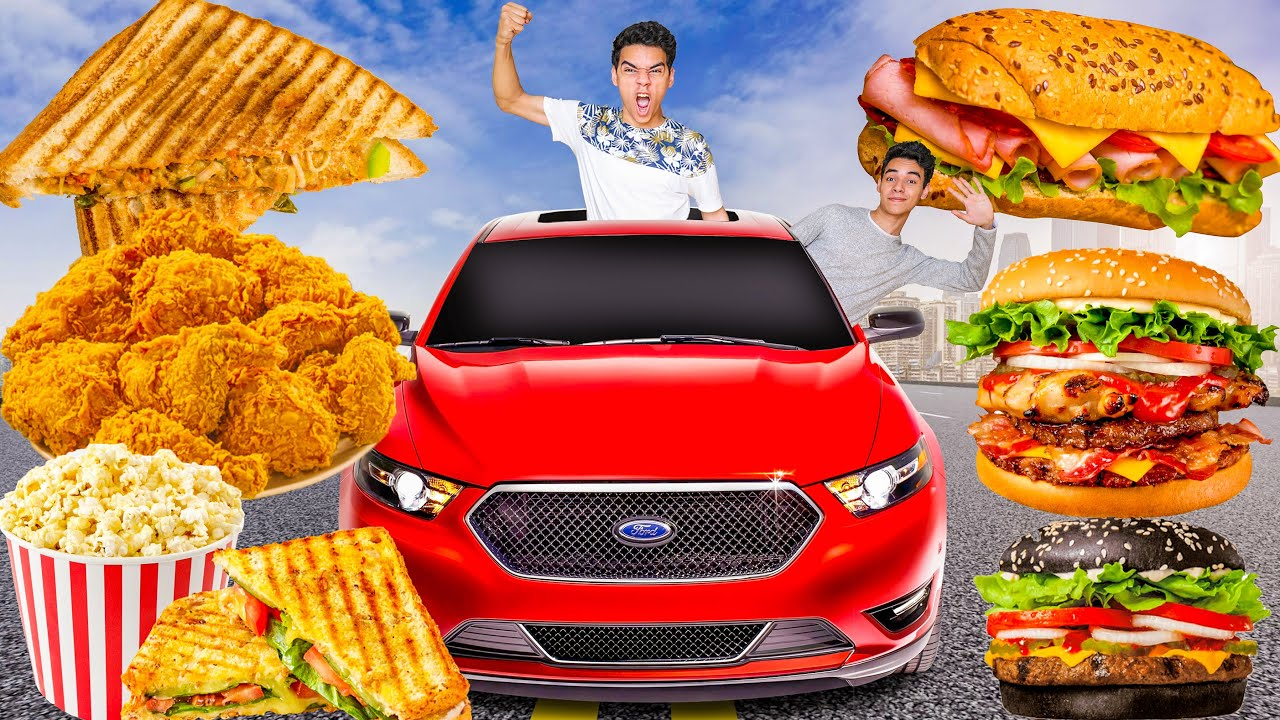 تحدي ناكل يوم كامل في السيارة انصدمنا من كمية الاكل 😫🚘 Eating In The Car Full Day