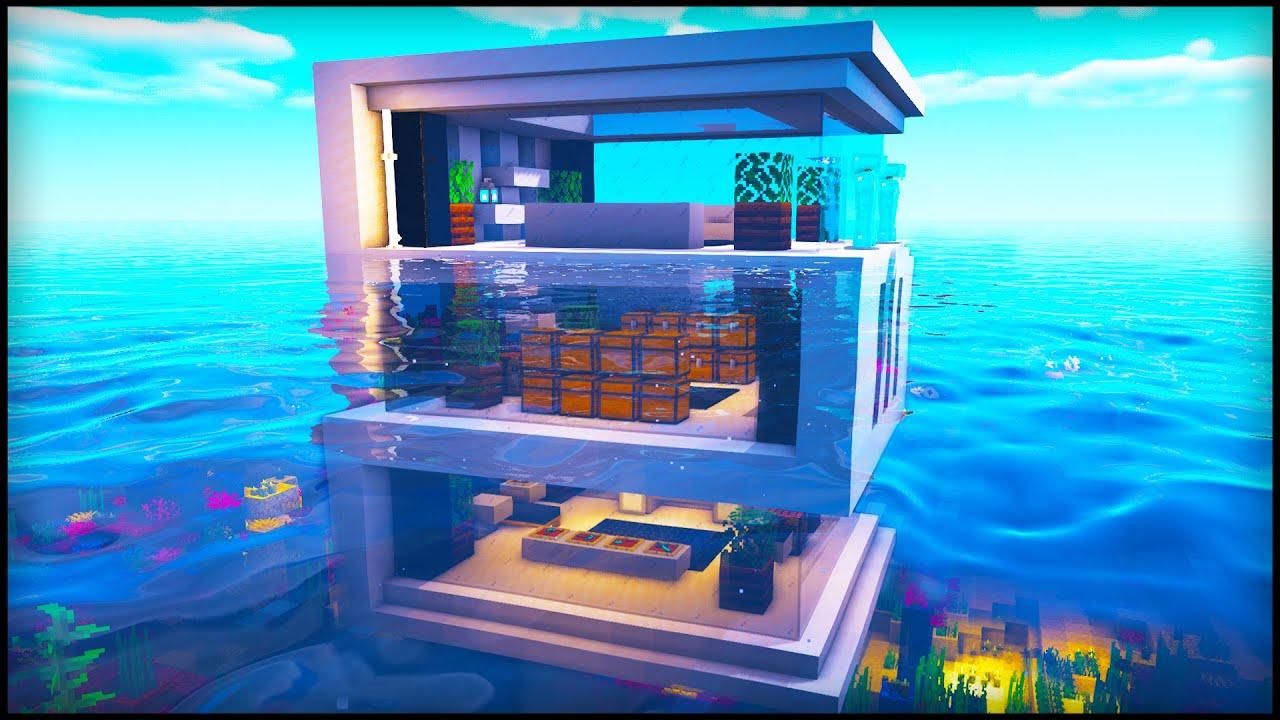 Minecraft: Underwater Modern House  How to build a Modern House in  Minecraft Tutorial