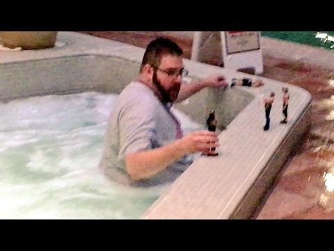 FAT MAN CAUGHT PLAYING WWE TOYS IN PUBLIC POOL!