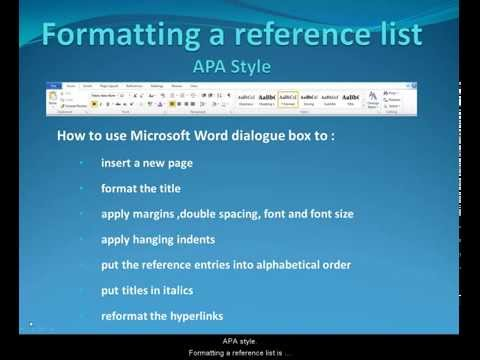 What is apa format? when your writing a reference list.?