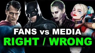 Justice League 2017, Wonder Woman, Suicide Squad, Batman v Superman FANS vs CRITICS