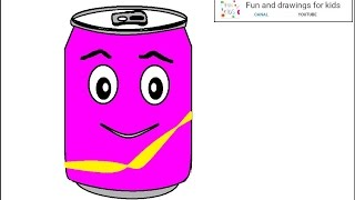 How to draw a nice can of soda for kids with Nursery rhymes