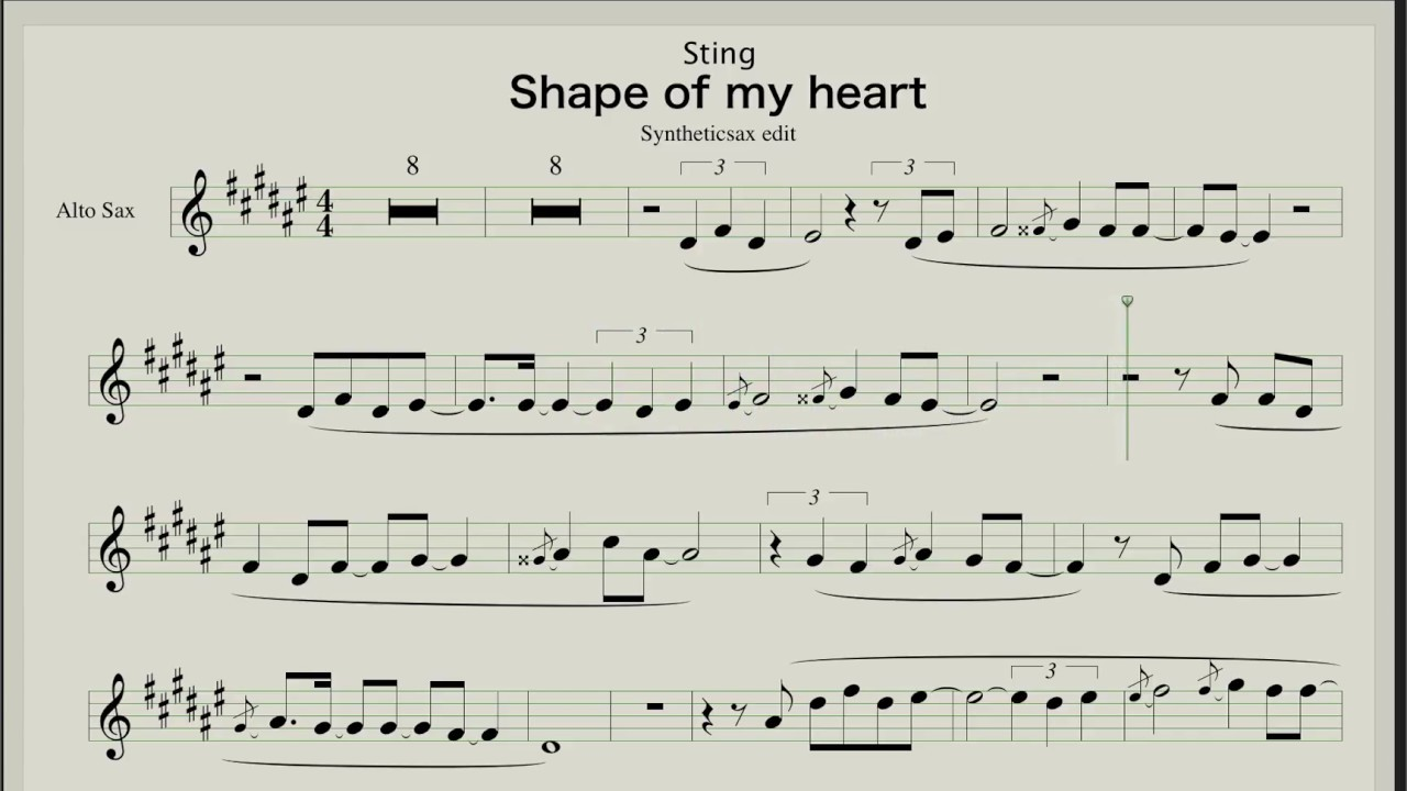 Sting - Shape of my heart - Sheet music for Saxophone Alto & Tenor by  Backing track & Sheet Music for Saxophone