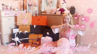 EUROPE 🇪🇺 LUXURY HAUL 😍 ALL IN PINK 💖🎀🌸 PART 1 ❤️ CHANEL, DIOR, HERMES & LOUIS VUITTON UNBOXING ❤️