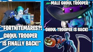 NINJA Reacts TO *NEW* Fortnitemares & Ghoul Trooper BACK W/ Male Version! (Fortnite Moments)