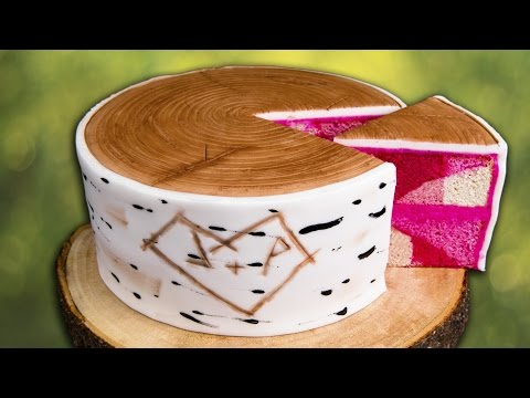 How to Make a Birch Bark Log Cake w/ Hidden Pink Camouflage