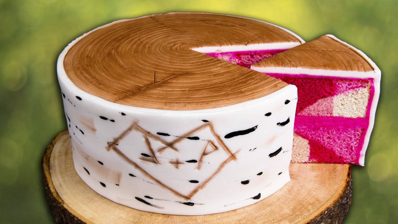 How To Make A Birch Bark Log Cake W Hidden Pink Camouflage