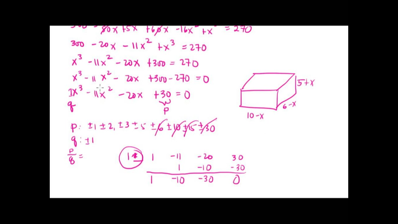 Part 2 Of Application Of Polynomial Functions Volume Of A