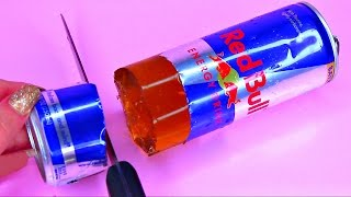 How To Make Real Red Bull Energy Drink Pudding Jelly Cooking Learn the Recipe DIY 리얼 콜라 푸딩 젤리 만들기