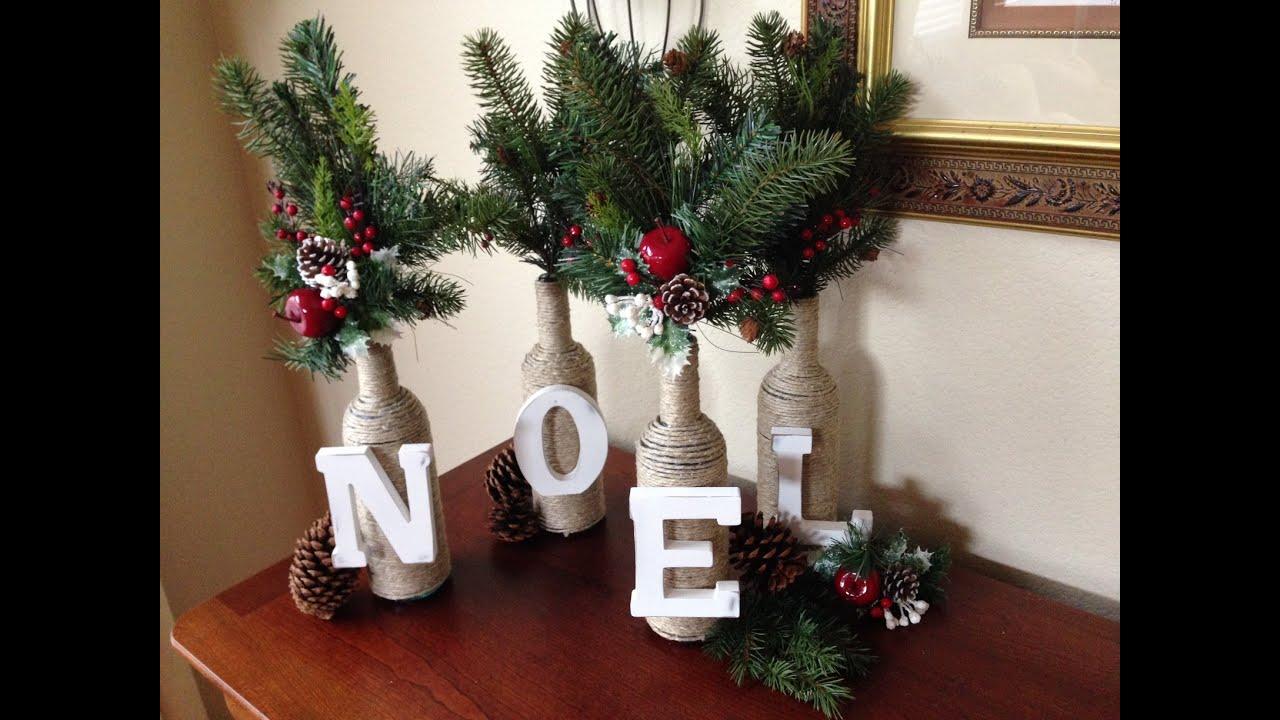 DIY Christmas Decor- Letter & Twine Wine Bottles