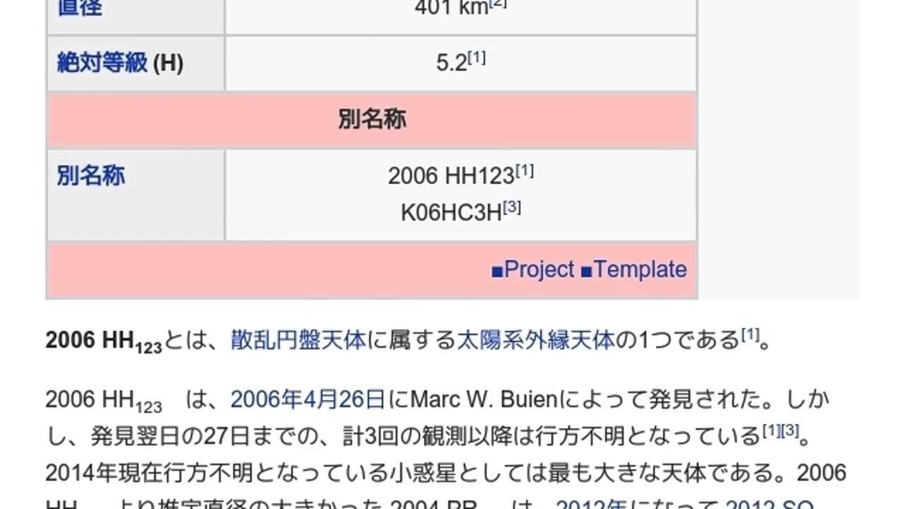 2006 HH123」とは ウィキ動画 - ...